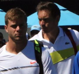 CroppedRyan Harrison and Nicholas Mahut security walk Jan 16 2017 Australian Open